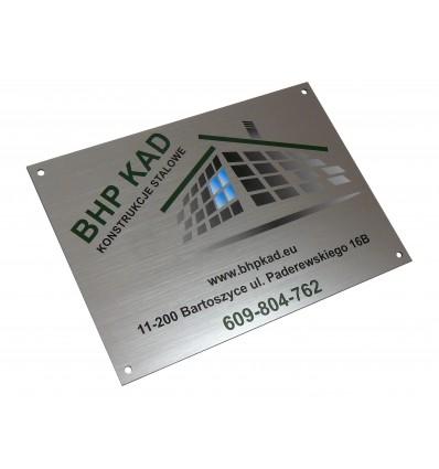 Tabliczka firmowa informacyjna z nadrukiem UV 14,8x21 cm, grubość 1,6mm