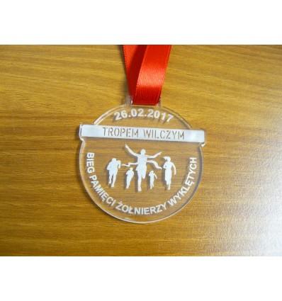 Medal plexi  przeźroczysta ze wstążką