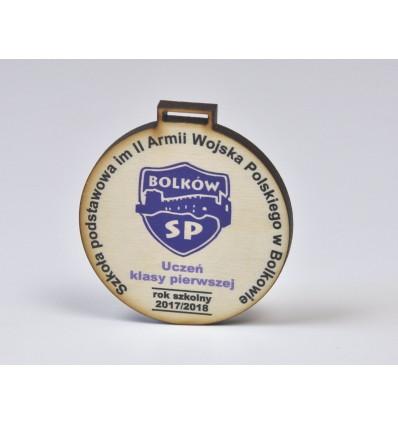 Medal drewniany 6x6cm grubość 5mmz nadrukiem UV