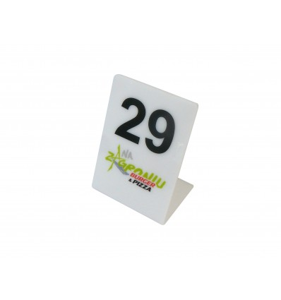 Numerek na stół plexi z logo 7x10cm, grubość 3mm