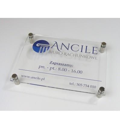 Tabliczka firmowa z plexi przeźroczystej z nadrukiem UV, format A4