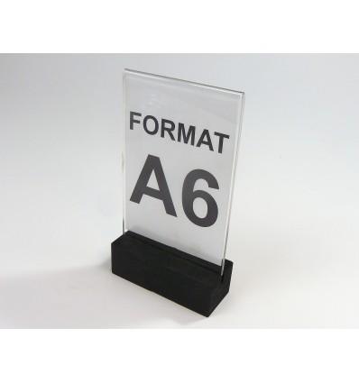 Stojak z plexi z drewnianą podstawką - format A6