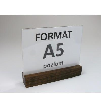Stojak z plexi z drewnianą podstawką - format A5