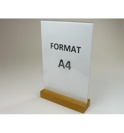 Stojak z plexi z drewnianą podstawką - format A4