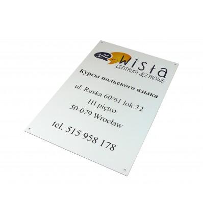 Tabliczka firmowa informacyjna 33x50cm z nadrukiem UV , grubość 1,6mm