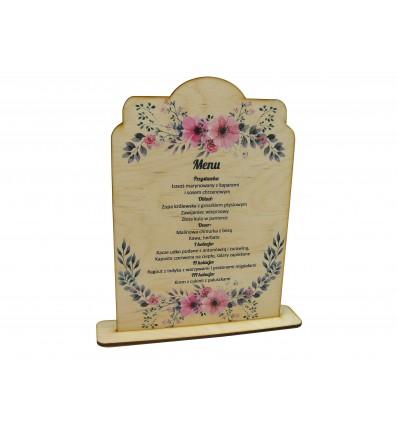 drewniane menu weselne z kolorowym nadrukiem UV
