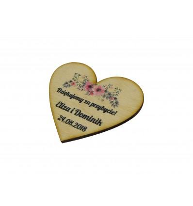drewniane podziękowanie na magnes dla gości weselnych