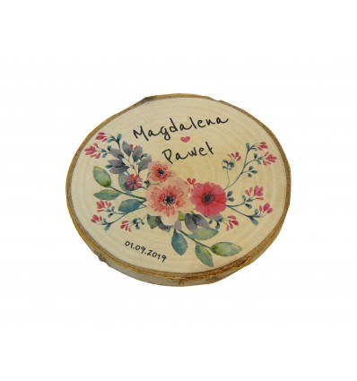 Drewniane podziękowanie na magnes dla gości weselnych, plaster brzozy 6-7 / 8-9 cm