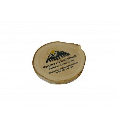 Drewniany magnes na lodówkę z nadrukiem, plaster brzozy 8-9 cm