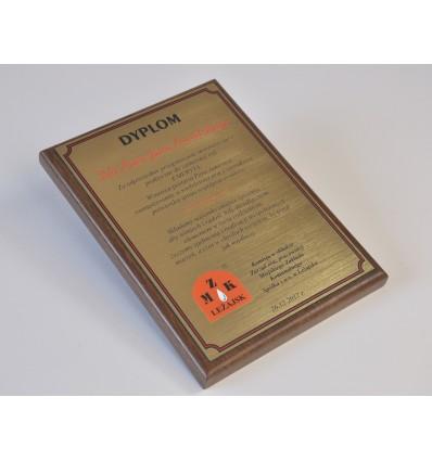 Dyplom okolicznościowy na drewnianym podkładzie - format A4 pion