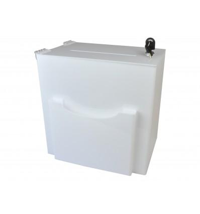 Urna, skrzynka z plexi mlecznej z kieszonką 30x20x30cm