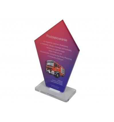 Statuetka z plexi przeźroczystej 5 mm z nadrukiem UV