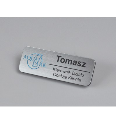 Identyfikator personalny na klips 75x27mm, grubość 1,6mm