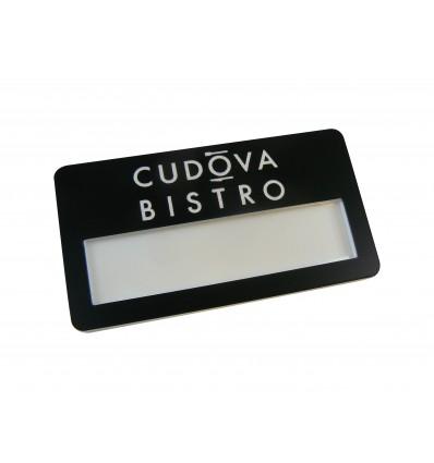 grawerowany Identyfikator personalny z okienkiem na agrafkę 70x38mm, grubość 4mm