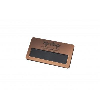 grawerowany Identyfikator personalny z okienkiem na magnes 70x38mm, grubość 4mm