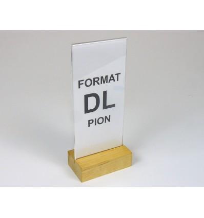 Stojak z plexi z drewnianą podstawką - format DL
