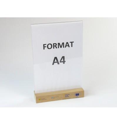 Stojak z plexi z drewnianą podstawką i nadrukiem UV - format A4