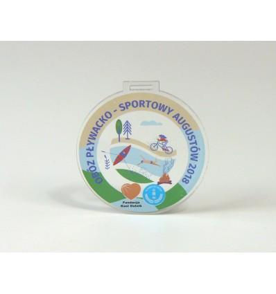 Medal plexi 8x8cm grubość 4mm z kolorowym nadrukiem UV