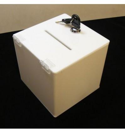 skarbonka, urna, skrzynka z plexi mlecznej 20x20x20cm