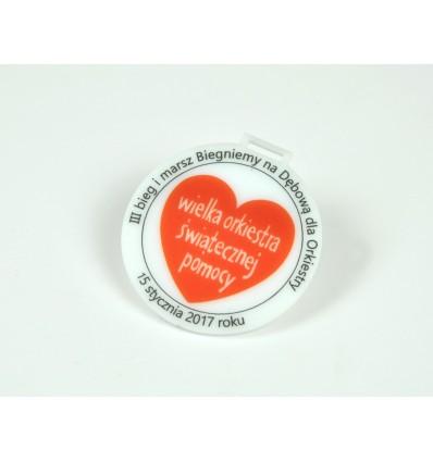 Medal plexi mleczna z nadrukiem UV 6x6,5cm grubość 3mm