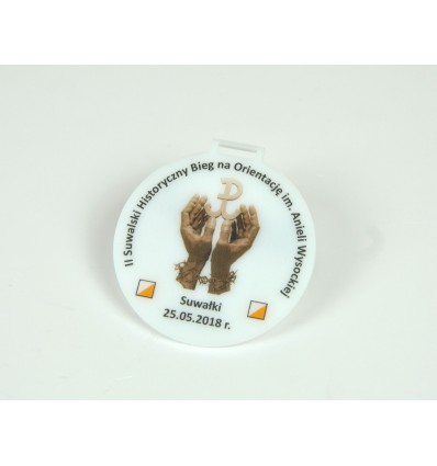 Medal plexi mleczna z nadrukiem UV 8x8,5cm grubość 3mm